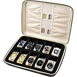 Comecase 10 - Slot Watch Jewelry Box Storage with Pillow, Travel PU Leather Zippered Case Organizer, Jewelry Collector - Brown