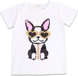 Boys' T-Shirts Flip Sequin Kids T-Shirt Short Cotton Tees Print Crewneck Tops