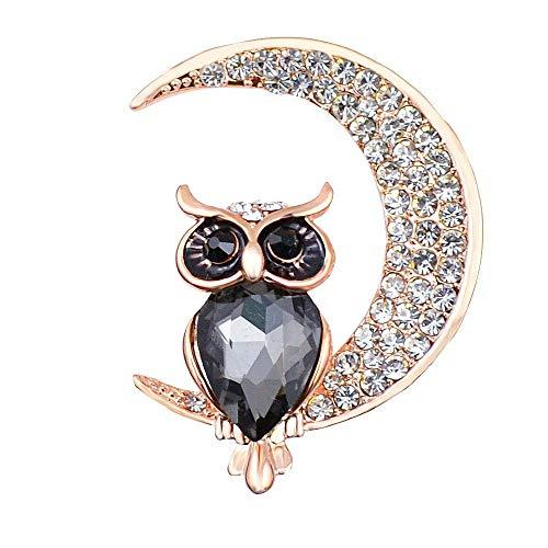 Cute Owl Moon Crystal Rhinestone Broche Pin Animal de Dibujos Animados Escudo Pines de Solapa Bufanda Hebilla Ropa de Mujer Joyero-B