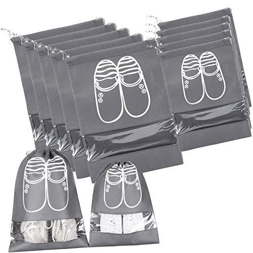 シューズバッグ 中身が見える巾着袋 防塵 防水 旅行/出張/家庭収納 シューズ/タオル/服入れ 2サイズ 10枚セット
