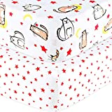 Handywa - 100% Cotton, 2 Pack, Fitted Cat Crib Sheet Set for Baby Boy or Girl Nursery, Fits on Standard 28x52 inch Crib and Toddler Bed Mattress