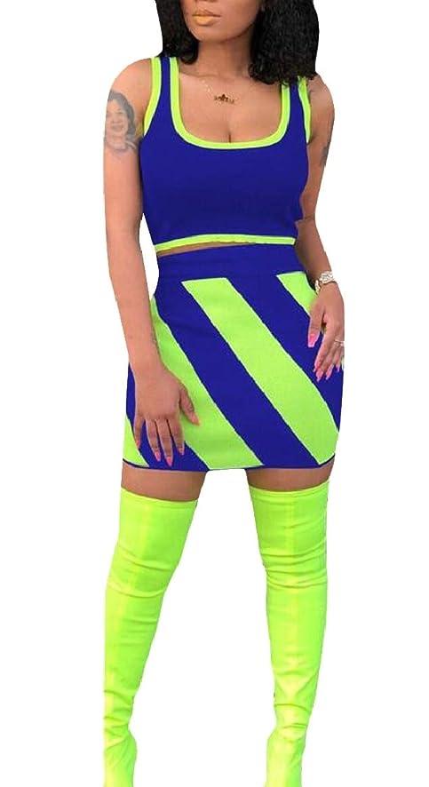 すずめ化学薬品陽気なレディースファッションタンクトップとミニスカートセクシーなカラーブロック2個セット