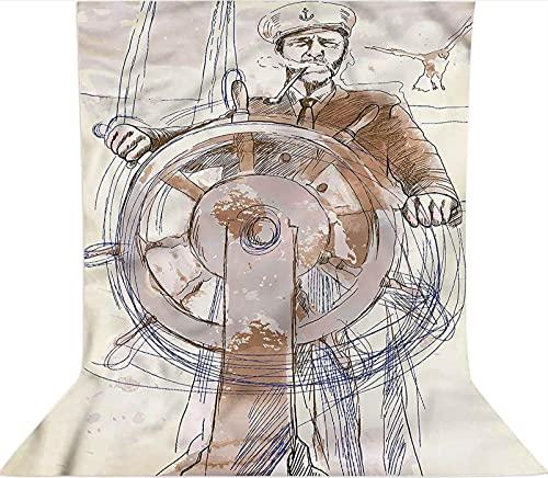 Fondo de fotografía de 3 x 5 pies, telón de fondo de tela de microfibra Capitán Leader Seaman, pantalla plegable de alta densidad para cumpleaños, bodas, festivales temáticos de fiestas