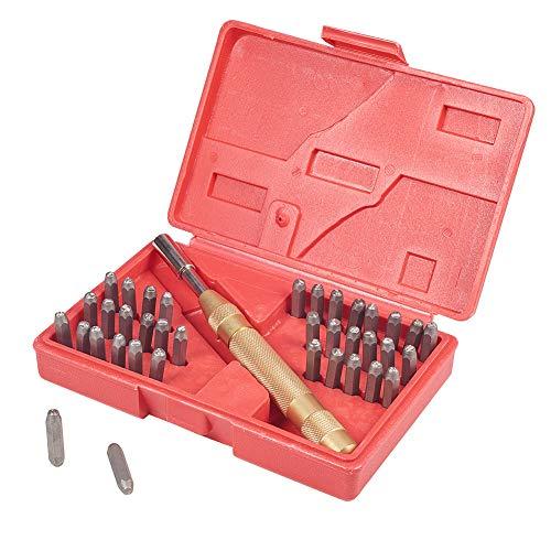 PandaHall Elite Eisen Schlagzahlen 0~9 und Schlagbuchstaben A~Z Schlagbuchstabensatz Schlagzahlensatz mit Griff für DIY Briefmarken Schnitzwerkzeuge 165x105x35mm