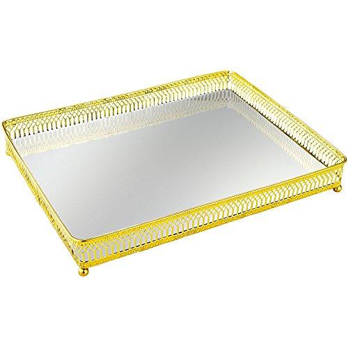 Mart Bandeja Dourada em Metal com Espelho Dourado