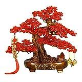 DECORACIÓN De Árbol De La Suerte Feng Shui Árbol De La Fortuna con Cuentas Tejido Hecho A Mano Dinero del Tesoro Sala De Estar del Árbol De La Suerte