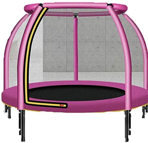 BRFDC Trampolin Fitness Los niños con Pull trampolín con Red de Seguridad del recinto del cojín de Salto Mat Primavera (Color : Pink)