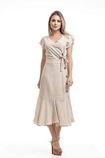 Vestido Clara Arruda Botões Laterais Linho 50493