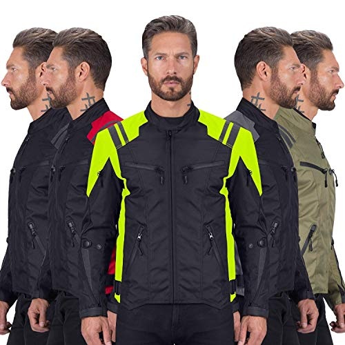 Viking Cycle Ironborn Protective Textile Motorcycle Jacket for Men - Waterproof, Breathable, CE Approved Armor for Bikers (Green, XL)