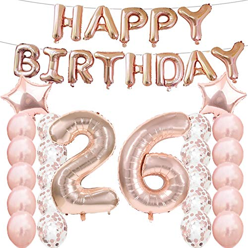 26th Birthday Decorations Party Supplies,26th Birthday Balloons Rose Gold,Number 26 Mylar Balloon,Latex Balloon Decoration,Great Sweet 26th Birthday for Girls,Photo Props