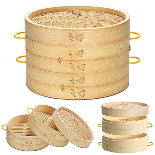 HZL Bambusdampfer, Bambusdampferkorb, Bambusdampferkäfig, Kuchengeschirr Bambusdampfer, Bambuskochdeckel, für Dim Sum, Gemüse(25cm cage)