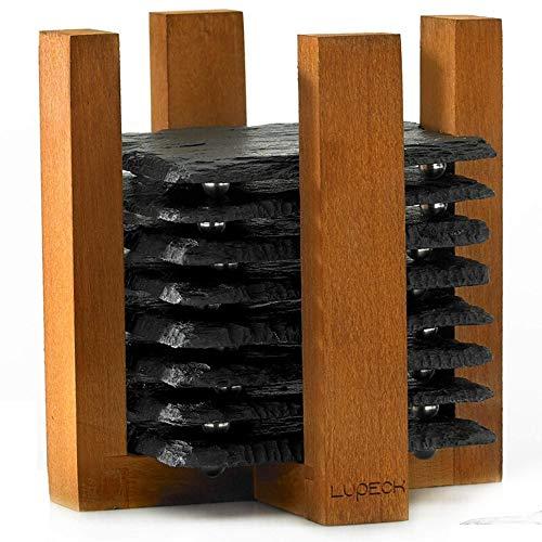 LK Design Lupeck Untersetzer Gläser aus Schiefer (10pc) Mini Teller Set fur Küchen deko I Schiefer zum beschriften Cocktail mit Kreide I Ideal fur Whiskey I Natural Holzbox I