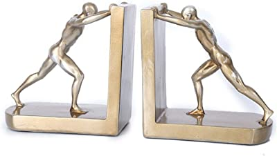 Fasmov Heavy Duty Stainless Steel Man bookends Nonskid Bookends Art Bookend,1 Pair Manbookends-Glod Glod