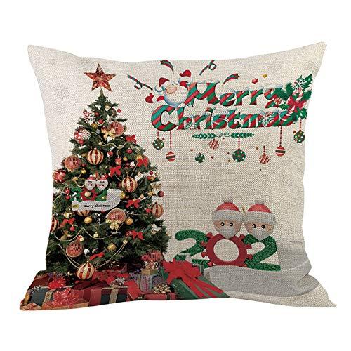 Home Christmas Decor Cushion Cover Survived Family Pillowcase Throw Pillow Cover, Face Face Cove Snowman Xmas Decoration Pillowcase, F