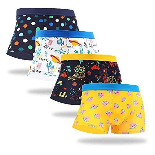 WeciBor Herren Bunte Boxershorts Unterwäsche Baumwolle Funny Hipster Sportliche Männer Unterhosen Retroshorts Multipack (Large, DEUN001-01-4Pack)
