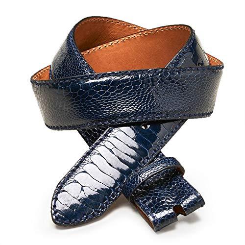 Reptile's House   ZAFFIRO   Straußenledergürtel - 4cm   Blue Navy   Länge 100cm   Handgenäht   High Fit   100% echtes Leder   Italienisches Produkt