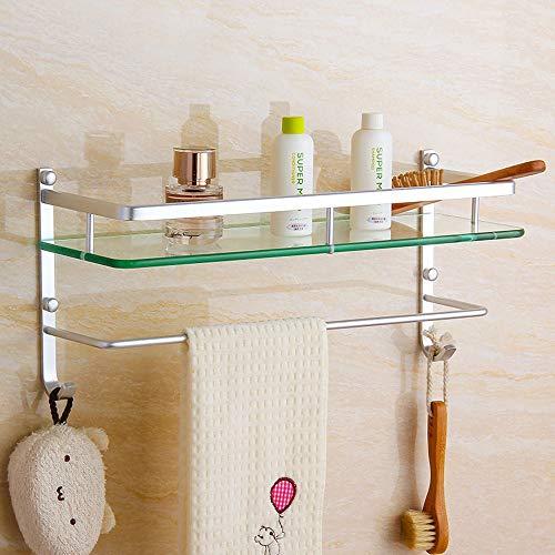 Thwarm Badezimmer Glasregal Wand befestigter Shampoo-Dusche-Regale Halter-Küche Storage Rack Organizer Badutensilien Kosmetik Spiegel-Front-Regal mit Handtuchhalter (Größe : 50CM)