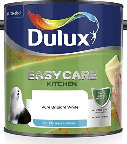 Dulux 5092113 Easycare Kitchen Matt Emulsion Paint For Walls And Ceilings - Pure Brilliant White 2.5L