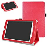 MAMA MOUTH Alcatel OneTouch Pixi 3 Funda, Slim PU Cuero con Soporte Funda Caso Case para 8' Alcatel OneTouch Pixi 3 8 3G Tablet PC,Rojo