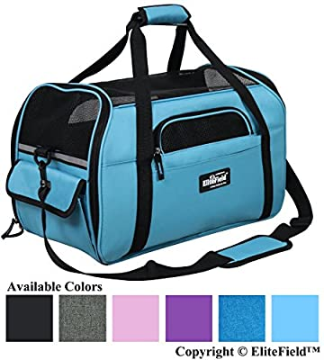 """EliteField Soft Sided Pet Carrier (3 Year Warranty, Airline Approved), Multiple Sizes and Colors Available (Medium: 17"""" L x 9"""" W x 12"""" H, Sky Blue)"""