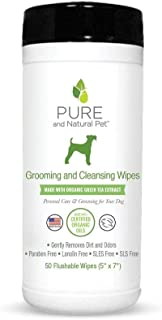 Pure and Natural Pet Grooming and Cleansing Wipes Green Tea Green Tea 50 Wipes