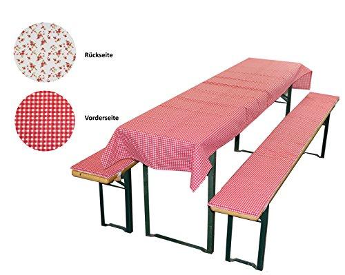 MERINO BETTEN Bierbankauflage & Tischdecke im 3 TLG. Set, Biertischauflagen-Set für Alle gängigen Bierzeltgarnituren (Weitere verfügbar) (70 x 130 cm, Rot)