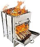 barbecue pieghevole in acciaio inox, portatile da campeggio, stufa a legna, stufa a legna, per attività all'aperto, escursionismo, picnic, barbecue