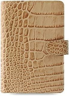 Filofax Classic Croc Print Leather Organizer Agenda Calendar with DiLoro Jot Pad Refill 026012 (Personal Taupe/Fawn 2020)
