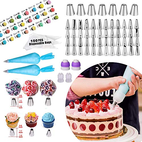 Cake Decorating Supplies 2020 Upgrade 367 PCS Baking Set with Springform Cake Pans Set,Cake Rotating Turntable,Cake Decorating Kits, Muffin Cup Mold, Cake Baking Supplies for Beginners and Cake Lovers