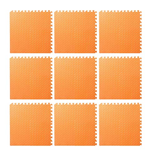 9pcs Foam Floor, Gym Flooring Mat Exercise Mats P uzzle Eva Floor Tiles Foam Exercise Mats, 11.81x11.81x0.47inch, For Play Rooms, Exercise Rooms(Orange)
