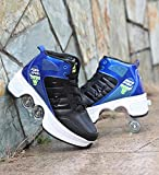 Zapatos deformados multifuncionales de la parte superior, Cool Parkour para adultos/niños, ruedas retráctiles, la mejor opción para deportes al aire libre, patinaje de viaje (negro-azul, 40)