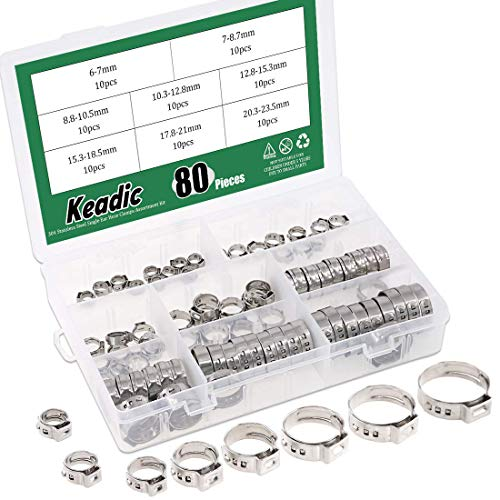 """Keadic 80Pcs 1/4""""-15/16"""" 304 Stainless Steel Single Ear Hose Clamps Clips Pex Pinch Clamp Assortment Kit for Various Hoses Plastic Tubes Use"""