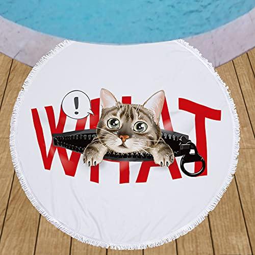 Toalla De Playa Redonda De La Serie Cartoon Kitten, Patrón De Impresión Digital, Tapete De Playa De Microfibra De Secado Rápido, Manta De Playa A Prueba De Arena 150 * 150cm