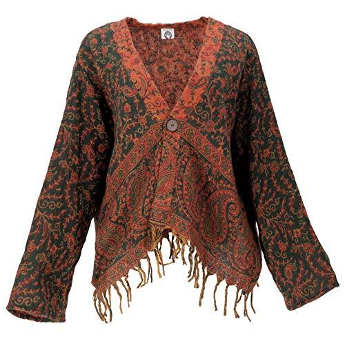 Guru-Shop Bolero Jacke, Legeres Boho Jäckchen, Damen, Grün/orange, Synthetisch, Size:40, Boho Jacken, Westen Alternative Bekleidung