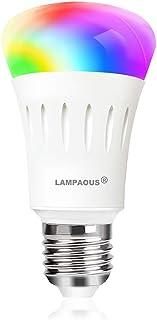 LAMPAOUS - Bombilla inteligente, wifi, LED, E27, regulable, modo luz blanca y multicolor, funciona con el teléfono, Google...