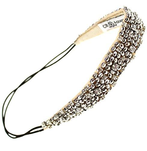 Rhinestone Beaded Headband with Metallic Beads and Elastic Fashion Hair Accessory