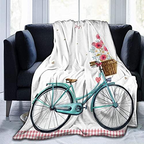 Manta azul con estampado de flores para bicicleta, ligera, supersuave, de microfibra, para sofá, cama, sala de estar, sofá, silla, 152 x 127 cm