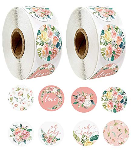 1000pcs 8 Different Design Flower Love Stickers 1'' Round Adhesive Labels,500 Per Roll,Decorative Sealing Stickers for Christmas Gifts, Wedding, Party (A-36 8 Different Design)