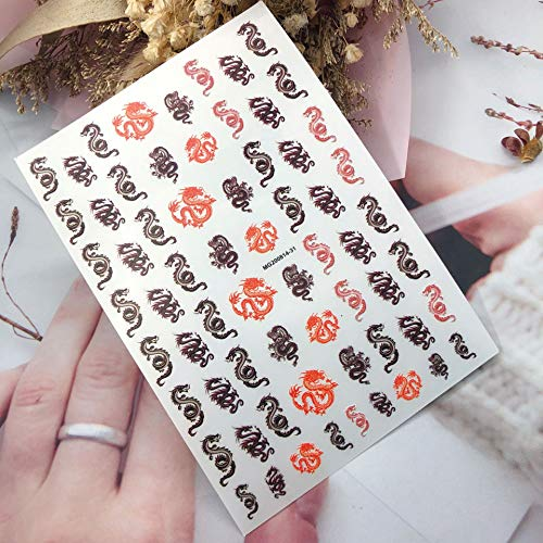 3D Nail Art Dragon Decals Stickers Red Black Dragons Design Self Adhesive Nail Sticker Acrylic Manicure Tips Decorations