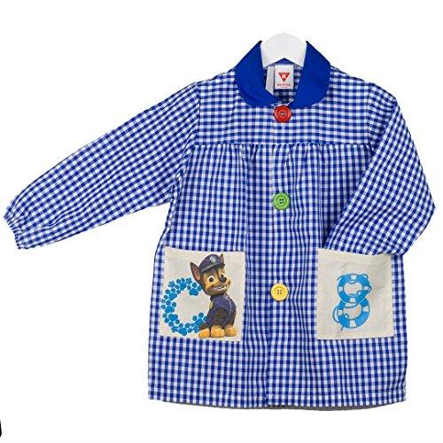 KLOTTZ - Babi bolsillos de tela de Patrulla Canina. Mandilón escolar y actividades. Niñas color: AZUL talla: 2
