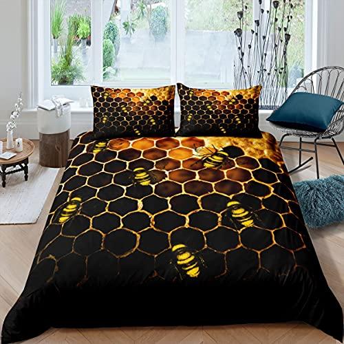 Juego de cama de nido de abeja doble, juego de funda de edredón para niñas y niños, diseño de abejas, forma geométrica de panal hexagonal con 2 fundas de almohada, naranja, amarillo y negro