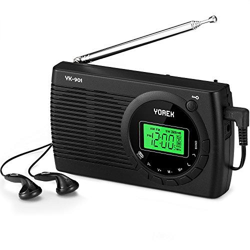 Yorek AM/FM/SW Radio, Portable Digital Radio with Sleep Timer and Alarm Clock Function, Battery Operated Stereo Radio, Earphone Included