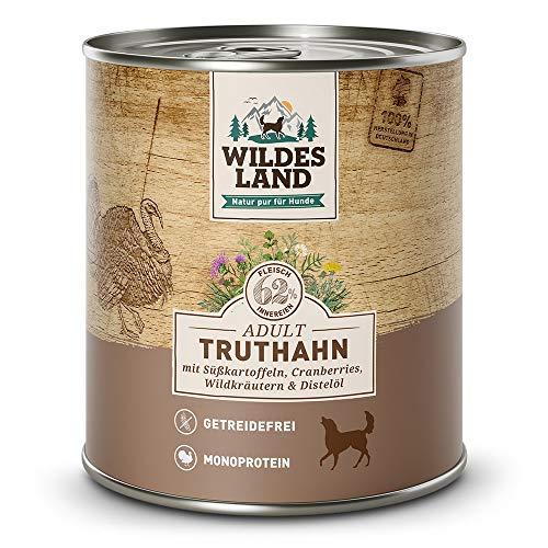 Wildes Land | Truthahn | 6 x 800 g | Mit Süßkartoffel, Cranberries, Distelöl und Wildkräutern | Nassfutter für Hunde | Hoher Fleischanteil | Monoprotein | Getreidefreies Hundefutter