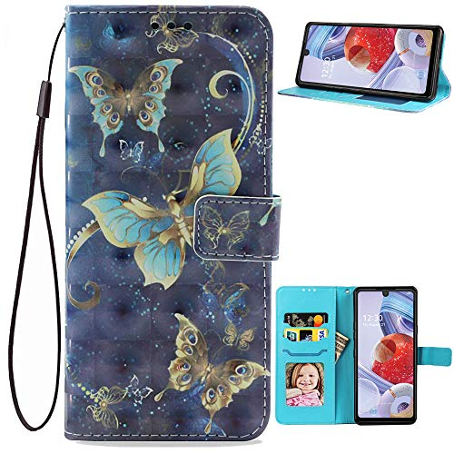 LG Stylo 6 Case Wallet,[3D Butterfly Style] Premium PU Leather Flip Phone Case Cover with Card Holder,Magnet Clasp and Kickstand for LG Stylo 6/Stylo6 2020 Release (Butterfly-5)