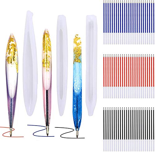 3 Pieces Pen Shape Resin Mold Ballpoint Pen Silicone Molds Epoxy Resin Molds Resin Casting Molds with 75 Pieces Ballpoint Refill Pens for DIY Resin Crafts Making (Assorted Color)