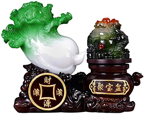 FLYAND Lucky Golden Toad Jade Cabbage Decoration Office Home Furnishing Money Frog Decoration Crafts Wealth Toad Feng Shui Decoration Decoration (Size : Small) (Size : Medium)