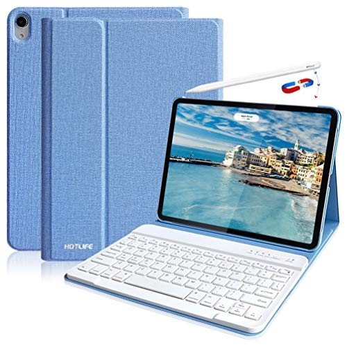 iPad Pro 11 Keyboard Case 2018, Detachable Wireless Keyboard Case -Support Apple Pencil Charging,iPad Pro Keyboard 11 Protective iPad Case with Keyboard for iPad Pro 11 Inch 1st Generation-Sky Blue