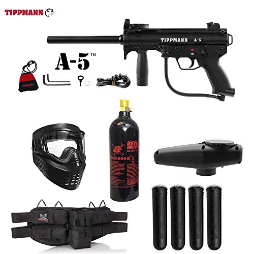 Maddog Tippmann A5 A-5 Standard Silver Paintball Gun Package - Black