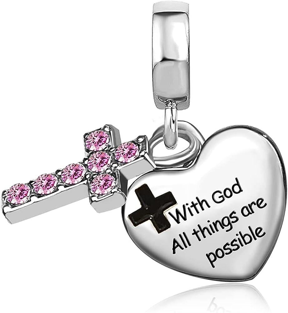 JMQJewelry Cross Religious God Birthday Birthstone Dangle Charms for Bracelets Women Mom Wife Sister Girls Jewelry