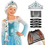 Tacobear Frozen ELSA Zopf mit ELSA Krone Prinzessin Eiskönigin ELSA Kostüm Zubehör für Kinder...